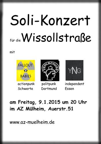 Soli-Konzert mit Fallout Babies, Fehlschuss und Your naked Girlfriend am 9.1.2015 um 20 Uhr im AZ Mülheim
